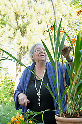 Female senior looking at her pot plant