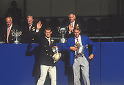 Henley, England, 1987 Henley Royal Regatta, River Thames, Henley Reach,  [© Peter Spurrier/Intersport Images], The Silver Goblets & Nickalls' Challenge Cup, left Andy HOLMES, Leander Club, Right Steve REDGRAVE, Marlow RC,