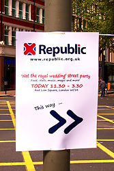 LONDON, UK  29/04/2011. The Royal Wedding of HRH Prince William to Kate Middleton. Directions to the Not The Royal Wedding Street Party being held in Red Lion Square. Photo credit should read CLIFF HIDE/LNP. Please see special instructions. © under license to London News Pictures