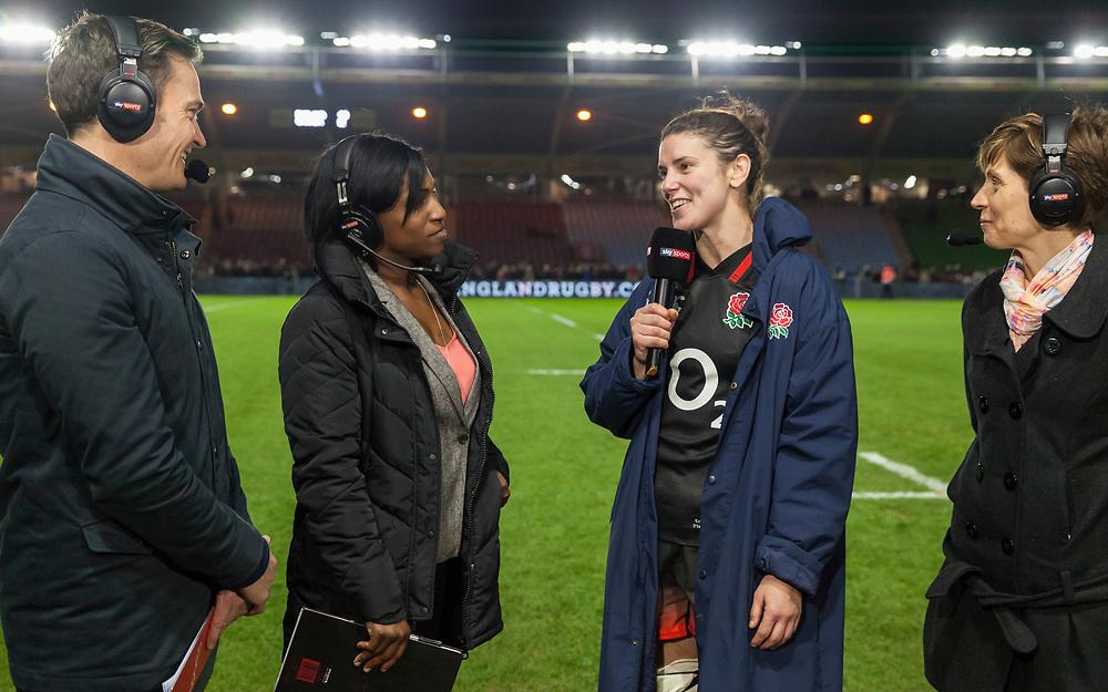 Sarah Hunter and Maggie Alphonsi talking on Sky TV post match, England Women v Canada in an Autumn International match at The Stoop, Twickenham, London, England, on 21st November 2017 Final score 49-12