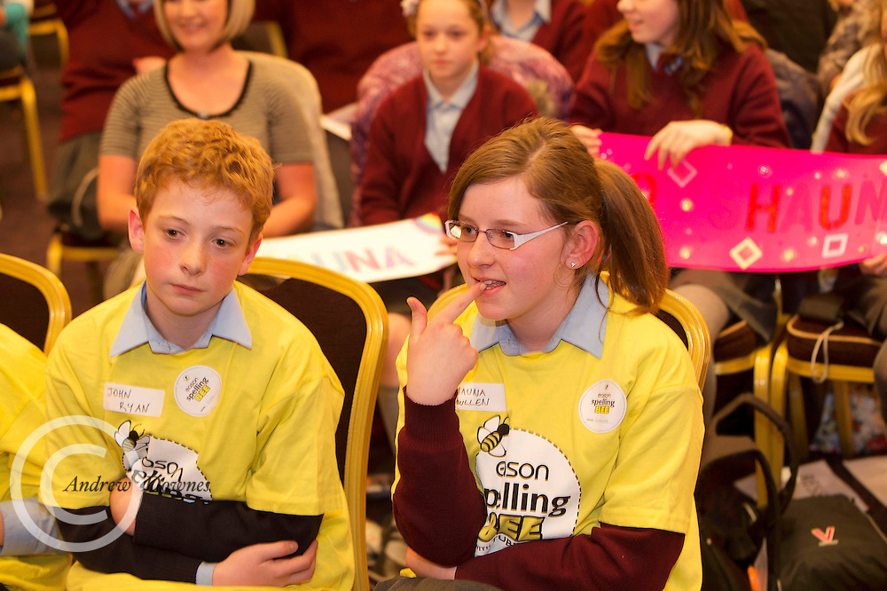 John Ryan St Brendan's National school Westport  and Shauna Mullen St Mary's Primary School Strokestown Roscommon. at the Eason Spelling Bee in the Hotel Meyrick, Galway from where Ryan Tubridy's show was broadcast . Photo:Andrew Downes..
