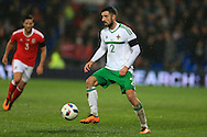 Conor McLaughlin of Northern Ireland in action. Wales v Northern Ireland, International football friendly match at the Cardiff City Stadium in Cardiff, South Wales on Thursday 24th March 2016. The teams are preparing for this summer's Euro 2016 tournament.     pic by  Andrew Orchard, Andrew Orchard sports photography.