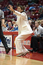 16 January 2005<br /> <br /> Coach Pingeton frantically calls to her team early in the game.<br /> <br /> Illinois State University shuts off the Shockers power in a 76 - 53 stunner.<br /> <br /> Illinois State University Redbirds V Witchita State Shockers Women's MVC, NCAA Basketball.  Redbird Arena, Illinois State University, Normal IL