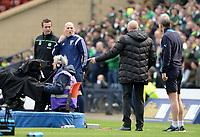 17/04/16 WILLIAM HILL SCOTTISH CUP SEMI-FINAL<br /> RANGERS v CELTIC<br /> HAMPDEN - GLASGOW<br /> Celtic manager Ronny Deila (far left) and Rangers manager Mark Warburton