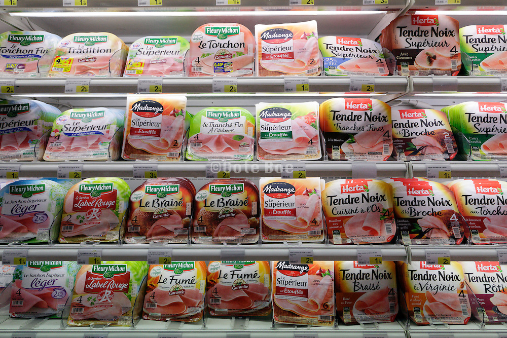 shelf with plastic wrap packaging with cut meat