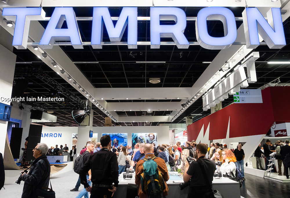 Tamron photographic stand at Photokina trade fair in Cologne, Germany , 2016