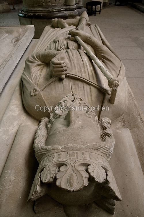 Gisant of Clovis I (465 - 511), first king of the Francs, stone, 1220 - 1230, origine Church of Sainte Genevieve (Paris), Abbey church of Saint Denis, Seine Saint Denis, France. Picture by Manuel Cohen