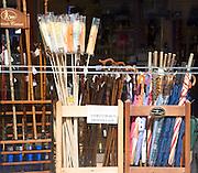 Umbrellas and walking sticks shop display Woodbridge, Suffolk