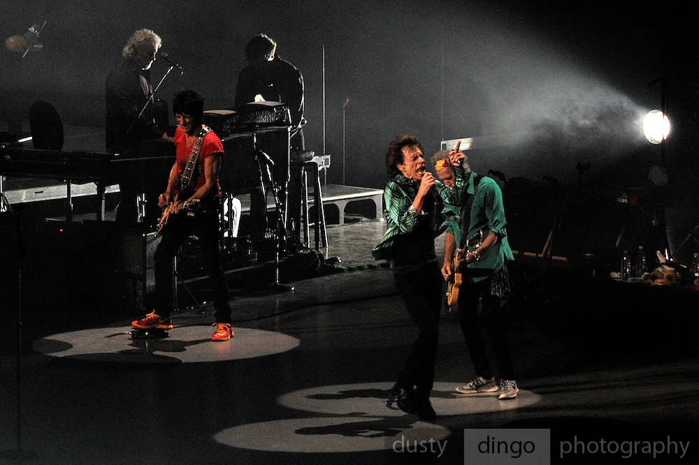 Ronnie Wood, Mick Jagger and Keith Richards. Rolling Stones 14 on Fire tour, Perth, Western Australia