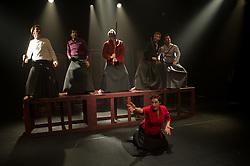 "© Copyright licensed to London News Pictures. 03/11/2010. Front - Anna Zubrzycki (Lady Macbeth). Back, L to R Ewan Downie (Malcolm), Faroque Khan ( Duncan), Gabriel Gawin (Macbeth), Ian Morgan (MacDuff), Kacper Kuszewski (Banquo) - Song of the Goat Theatre present ""Macbeth"" as part of the bite 10 season at the Barbican, London."