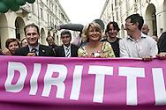 Torino, Gay Pride 2006:Paolo Ferrero (ministro della Solidariet‡ Sociale), Nichy Vendola, Barbara Pollastrini