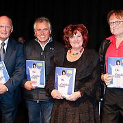 NLD/Hilversum/20111115 - Boekpresentatie Zangeres Zonder Naam van Ben Holthuis, Ben Holthuis, Adriaan Hoes, imca Marina en Herman Jongman