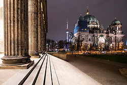 Night view of Berlin Cathedral from the Altes Museum , Berliner Dom, in Mitte Berlin , Germany