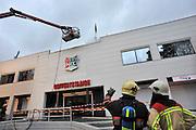 Nederland, Nijmegen, 2-1-2012Vanochtend brak in de Gaanderij, het businessdeel van het Goffertstadion, brand uit. De brandweer had het snel onder controle, maar er is zware schade aan de businessclub en kantoren in het stadion.Foto: Flip Franssen/Hollandse Hoogte