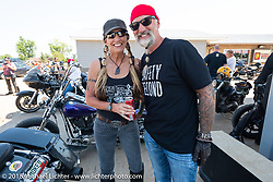 Reed and Deb Holmes on the Cycle Source ride during the 78th annual Sturgis Motorcycle Rally. Sturgis, SD. USA. Wednesday August 8, 2018. Photography ©2018 Michael Lichter.