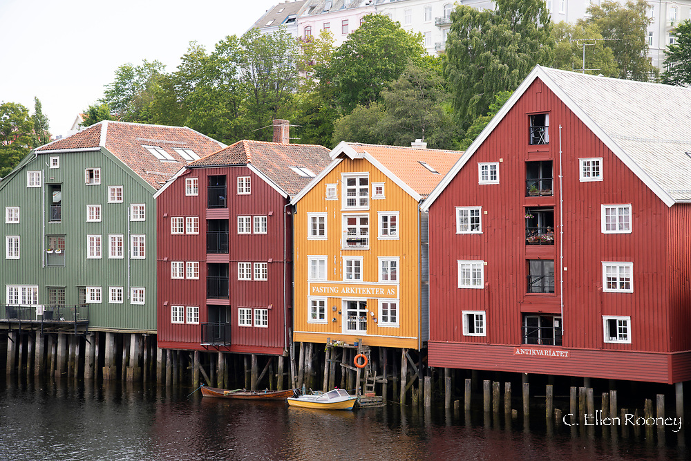 Colourful old warehouses on the Nidelva River in Tronheim, Trondelag, Norway