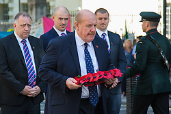Whitehall, London, August 28th 2015.  Six wreaths are laid at the Cenotaph by representatives from the Armed Forces, the RFL, the Parliamentary Rugby League Group and Ladbrokes Challenge Cup finalists Hull Kingston Rovers and Leeds Rhinos, ahead of Saturday's Ladbrokes Challenge Cup Final at Wembley. PICTURED: RFL Chairman Brian Barwick.