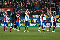 Atletico de Madrid's Griezmann, Fernando Torres, Raul Garcia, Jesus Gamez, Gabi and Arda Turan giving thank you to the Atletico de Madrid fans during 2014-15 Spanish King Cup match at Vicente Calderon stadium in Madrid, Spain. January 07, 2015. (ALTERPHOTOS/Luis Fernandez)