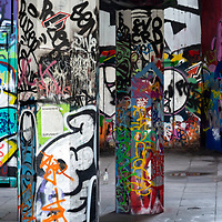 colourful abstract graffiti on London's south bank