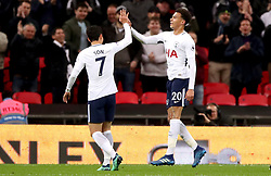 Tottenham Hotspur's Dele Alli (right) celebrates scoring his side's first goal of the game with team mate Son Heung-Min