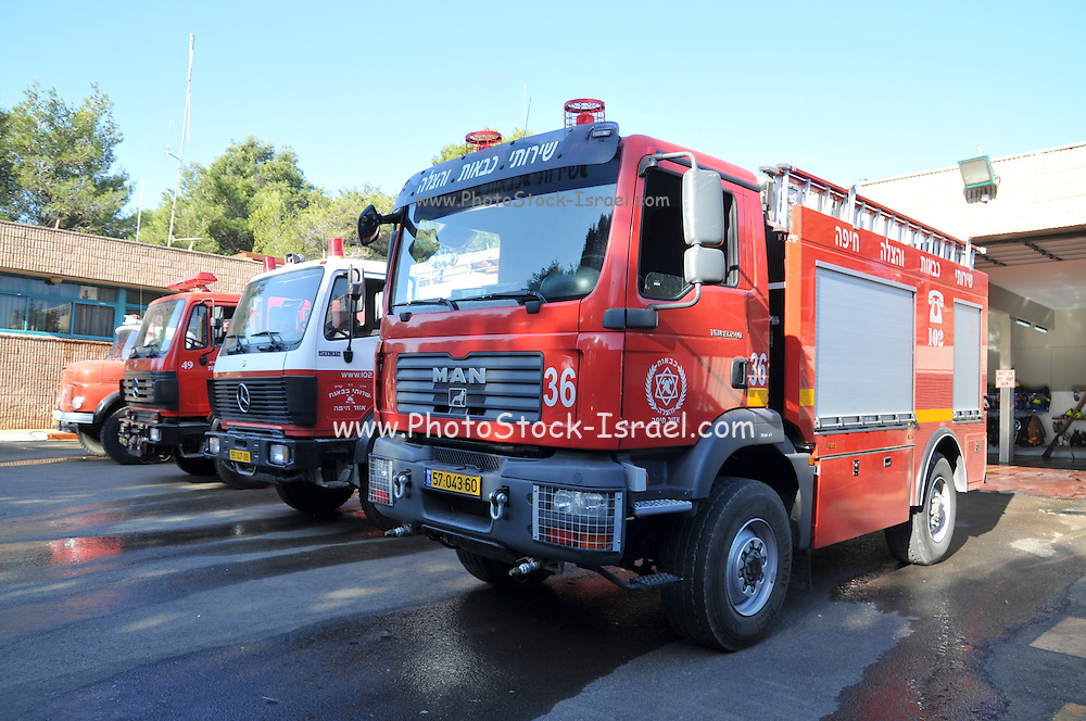 Israel, Haifa, fire trucks at the northern district fire station