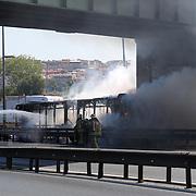 Explosion and fire seen on a metrobus heading to Beylikdüzü station at Zeytinburnu, Istanbul Turkey on Tuesday 25 August 2020. Photo by Aykut AKICI/TURKPIX