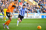 Sheffield Wednesday Forward Fernando Forestieri closes down Leeds United Goalkeeper Marco Silvestri during the Sky Bet Championship match between Sheffield Wednesday and Leeds United at Hillsborough, Sheffield, England on 16 January 2016. Photo by Adam Rivers.