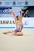 Halkina Katsiaryna during final at ribbon in Pesaro World Cup 12 April 2015. Katsiaryna is a Belarusian rhythmic gymnastics athlete born February 25, 1997 in Minks, Belarus.
