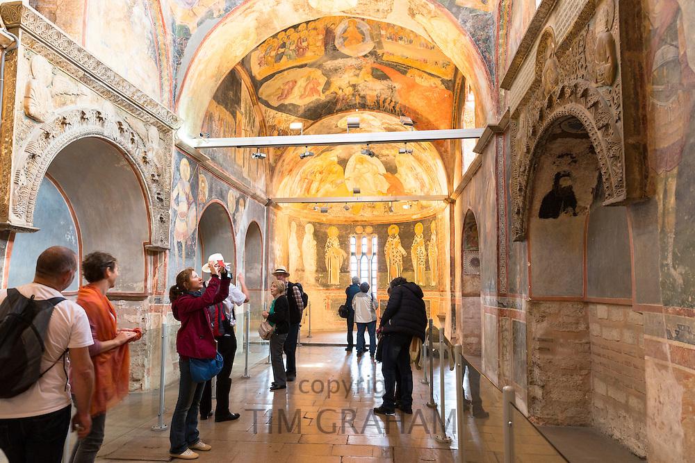 Visitors in The Church of St Saviour in Chora, Kariye Museum or St Savior in Istanbul, Republic of Turkey