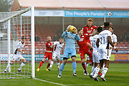 Newport County Goalkeeper Joe Day (1) claims the ball from a corner kick during the EFL Sky Bet League 2 match between Crawley Town and Newport County at the Checkatrade.com Stadium, Crawley, England on 17 December 2016. Photo by Andy Walter.
