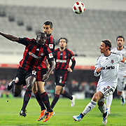 Besiktas's Jose Maria Gutierrez HERNANDEZ (Guti) (R) and Gaziantepspor's Dany NOUNKEU (L) during their Turkey Cup semi final soccer firsth match Besiktas between Gaziantepspor at the Inonu stadium in Istanbul Turkey on Wednesday 06 April 2011. Photo by TURKPIX