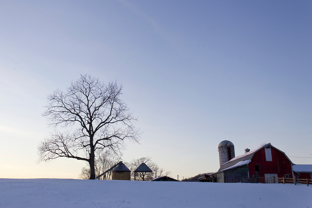 Goshen, New York - Farm buildings and a field covered in snow on Feb. 10, 2013.