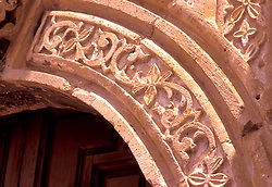 Close up of architectural detail of the Alamo in San Antonio, Texas