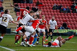 Aden Flint of Bristol City and Jamie Ness of Crewe Alexandra collide in the box - Photo mandatory by-line: Rogan Thomson/JMP - 07966 386802 - 20/12/2014 - SPORT - FOOTBALL - Crewe, England - Alexandra Stadium - Crewe Alexandra v Bristol City - Sky Bet League 1.