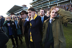 Racgeoers react during St Patrick's Thursday of the 2018 Cheltenham Festival at Cheltenham Racecourse. PRESS ASSOCIATION Photo. Picture date: Thursday March 15, 2018. See PA story RACING Cheltenham. Photo credit should read: Mike Egerton/PA Wire. RESTRICTIONS: Editorial Use only, commercial use is subject to prior permission from The Jockey Club/Cheltenham Racecourse.