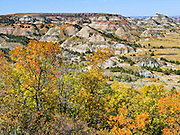 Badlands, Theodore Roosevelt National Park South Unit, in the Great Plains along Interstate 94 near Medora, North Dakota, USA.