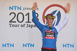 May 24, 2018 - Japan - Slovenian rider Grega Bole from Bahrain - Merida Team finishes on the fourth place in Minami Shinshu stage, 123.6km on Shimohisakata Circuit race, the fifth stage of Tour of Japan 2018. .He looses the Race Leader Green Jersey but keep the Blue Best Sprinter Jersey..On Thursday, May 24, 2018, in Lida, Nagano Prefecture, Japan. (Credit Image: © Artur Widak/NurPhoto via ZUMA Press)