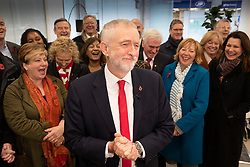 © Licensed to London News Pictures. 29/10/2019. London, UK. Labour Party Leader Jeremy Corbyn smiles surrounded by the shadow cabinet as he speaks at party headquarters after announcing that he will support an early general election. The government are expected to call for another vote on a general election in Parliament later today. Photo credit: Peter Macdiarmid/LNP