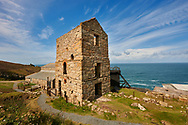 Engine houses of Levant Tin Mine, Cornwall . The Botallack Mine  is a former mine in Botallack in the west of Cornwall, England, UK. Since 2006 it has been part of the UNESCO World Heritage Site – Cornwall and West Devon Mining Landscape. The mine is within the Aire Point to Carrick Du Site of Special Scientific Interest (SSSI) and the South West Coast Path passes along the cliff..<br /> <br /> Visit our ENGLAND PHOTO COLLECTIONS for more photos to download or buy as wall art prints https://funkystock.photoshelter.com/gallery-collection/Pictures-Images-of-England-Photos-of-English-Historic-Landmark-Sites/C0000SnAAiGINuEQ