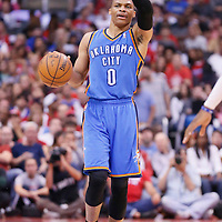 11 May 2014: Oklahoma City Thunder guard Russell Westbrook (0) brings the ball up court during the Los Angeles Clippers 101-99 victory over the Oklahoma City Thunder, during Game Four of the Western Conference Semifinals of the NBA Playoffs, at the Staples Center, Los Angeles, California, USA.