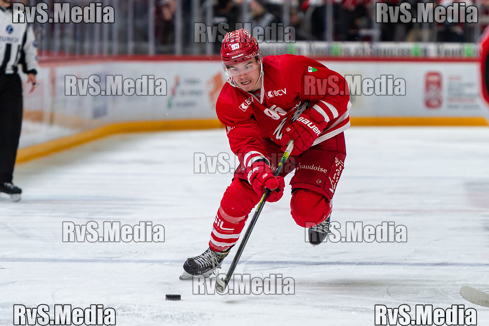 LAUSANNE, SWITZERLAND - NOVEMBER 15: #95 Tyler Moy of Lausanne HC in action during the Swiss National League game between Lausanne HC and EHC Biel-Bienne at Vaudoise Arena on November 15, 2019 in Lausanne, Switzerland. (Photo by Monika Majer/RvS.Media)
