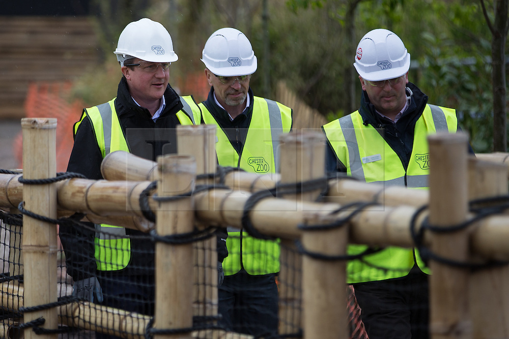 © Licensed to London News Pictures . 06/05/2015 . Chester , UK . The Conservative Party Leader DAVID CAMERON (left) visits a building site for an extension at Chester Zoo on the final day of the election campaign . Photo credit : Joel Goodman/LNP