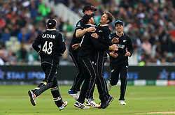 New Zealand players celebrate the wicket of Pakistan's Imam-ul-Haq bowled by Lockie Ferguson and caught by Martin Guptill during the ICC Cricket World Cup group stage match at Edgbaston, Birmingham.