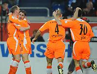 Fotball<br /> Tyskland<br /> Foto: Witters/Digitalsport<br /> NORWAY ONLY<br /> <br /> 04.04.2008<br /> <br /> Jubel 0:1 v.l. Timo Rost, Torschuetze Ervin Skela, Stanislav Angelov, Branko Jelic Cottbus<br /> Bundesliga MSV Duisburg - Energie Cottbus 0:1