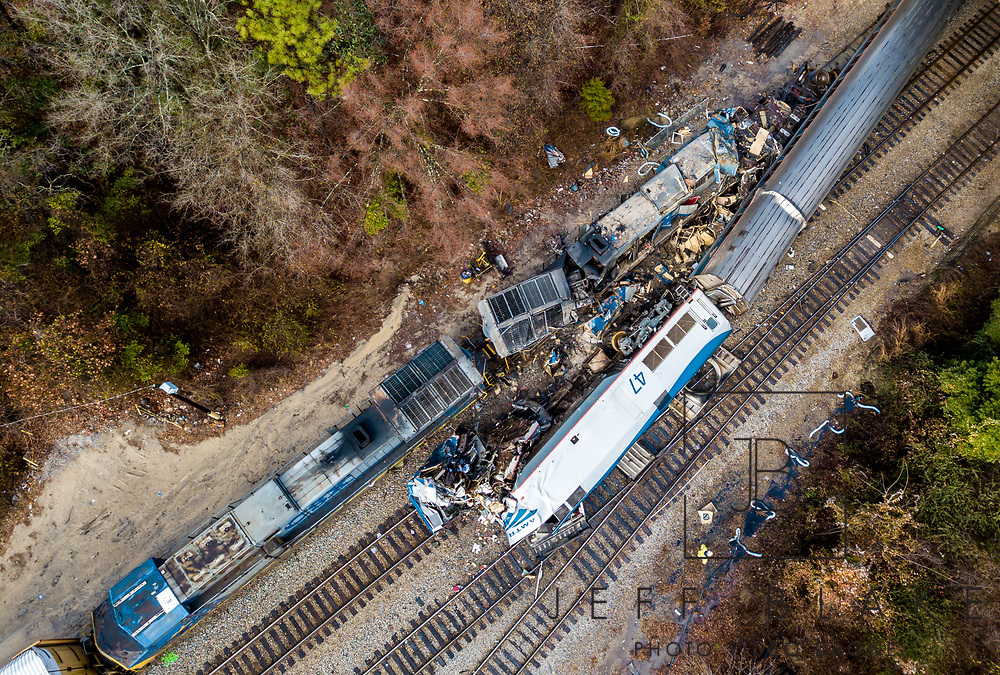 The site of an early morning train crash between an Amtrak train, bottom right, and a CSX freight train, top left, in Cayce, SC. Two people were killed and at least 110 people were injured. AP Photo/Jeff Blake