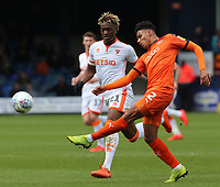 Blackpool's Armand Gnanduillet chases down Luton Town's James Justin<br /> <br /> Photographer David Shipman/CameraSport<br /> <br /> The EFL Sky Bet League One - Luton Town v Blackpool - Saturday 6th April 2019 - Kenilworth Road - Luton<br /> <br /> World Copyright © 2019 CameraSport. All rights reserved. 43 Linden Ave. Countesthorpe. Leicester. England. LE8 5PG - Tel: +44 (0) 116 277 4147 - admin@camerasport.com - www.camerasport.com