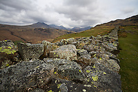 Scafell from the walls of the Hardknott Roman Fort, Lake District, Cumbria, UK