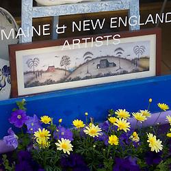 Window along a street in Bar Harbor Maine USA