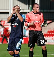 Photo: Steve Bond.<br />Walsall v Swansea City. Coca Cola League 1. 25/08/2007. Andy Robinson & Dorus De Vries acknowledge the Swansea fans