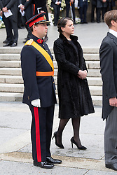 Prince Sebastien of Luxembourg and Princess Alexandra of Luxembourg get out the cathedral Notre-Dame after the funeral of Grand Duke Jean of Luxembourg on May 4, 2019 in Luxembourg City, Luxembourg.<br /> Grand Duke Jean of Luxembourg has died at 98, April 23, 2019.<br /> (Photo by David Niviere/ABACAPRESS.COM)